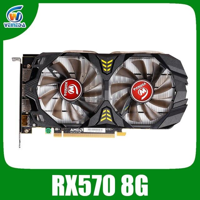 Veineda Video Kaart Radeon Rx 570 8Gb 256Bit GDDR5 1244/6000Mhz Grafische Kaart Pc Gaming Voor Nvidia geforce Games Rx 570 8Gb