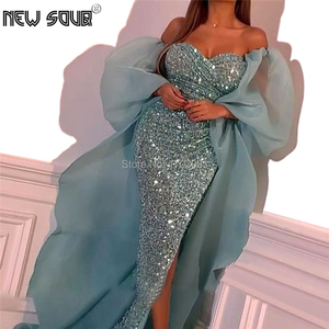 Image 1 - Blue Beading Evening Dresses Off The Shoulder Turkish Kaftans Long Prom Dress For Dubai Aibye Formal Party Gown 2020 Vestidos