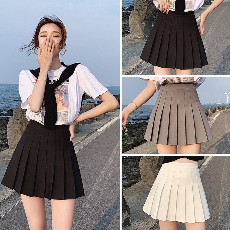 WenQing Sexy women short skirt cute female pleated skirt spring and autumn high waist solid color mini skirt summer female skirt