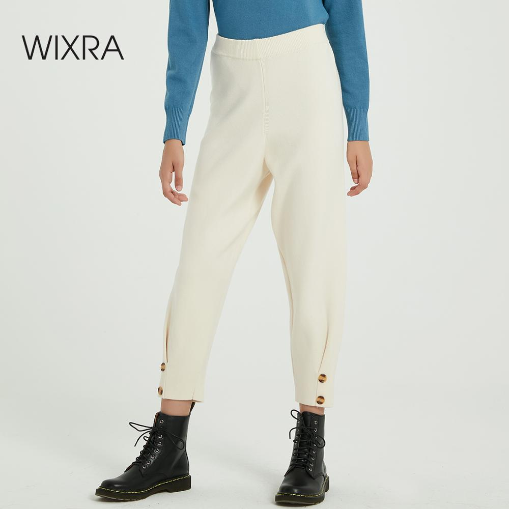 Wixra Casual Women's Knitted Ankle-Length High Elastic Waist Bottom Warm Thick Trousers Autumn Winter Ladies Bottom