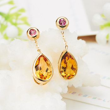 LSZB Natural citrine 18K Pure Gold Earring Real AU 750 Solid Gold Earrings  Diamond  Trendy  Fine Jewelry Hot Sell New 2020 2