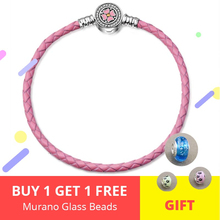 New design Pink Leather Rope Bracelet with pink enamel&white CZ flower Buckle 925 sterling silver Women diy jewelry for gifts