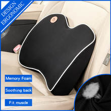 цена на Car back Support Lumbar Pillow for seat Support waist Cushion memory foam cotton mesh Office Chair In auto Travel Massagers home