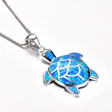 цены Cute Long Chain Necklace  Silver Plated Blue Fire Opal Cute Turtle Pendant Necklace For Fashion Jewelry For Women