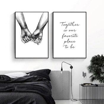 Romantische Hand In Hand Canvas Schilderij Zwart Wit Wall Art Poster Print Nordic Mode Foto Koppels Liefhebbers Kamer Decoratie 4