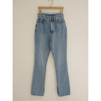 2019 Autumn Fashion Women High Waist Denim Jeans Straight Jeans Side Split Jeans Vintage Female Long Capri Pants 8