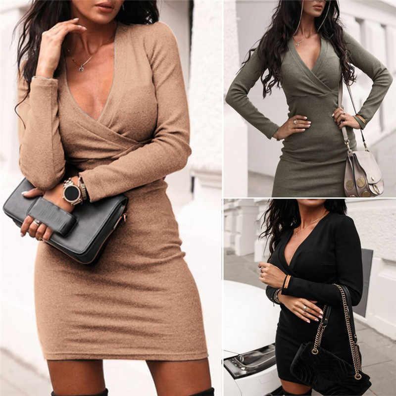 Élégant mode femmes à manches longues col en V profond robe pull dames hiver moulante mince court Mini crayon robes femmes robe 2019
