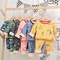 Комплект детской одежды, осенне-зимние детские пижамы из хлопка и бархата с длинными рукавами, детский пижамный комплект с мультяшным рисун...
