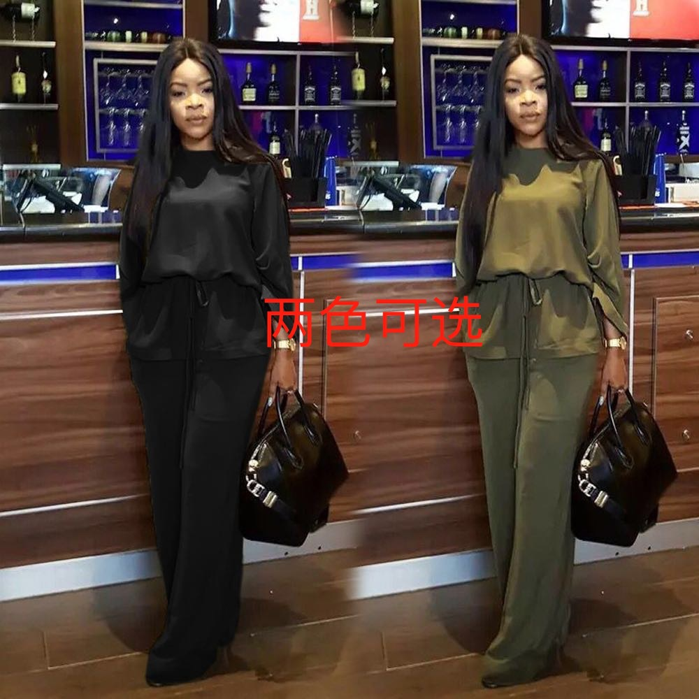 1022 Hot Selling Europe And America WOMEN'S Dress Long Sleeve Casual Solid Color Two-Piece Set