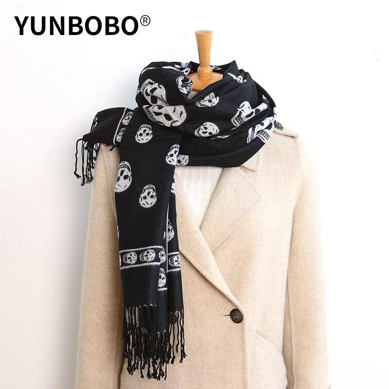 2020 Luxury Brand Double-sided  Skull Scarf Women Mrs Winter Warm Cashmere Shawl Scarf Animal Print Ghost Head Soft Thin Blanket