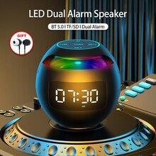 Mini Bluetooth Speaker Portable with LED Light FM Radio Speakers Alarm Clock Timer Altavoces Music Boombox Caixa De Som Portatil