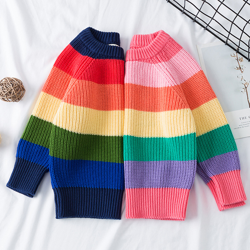 Baby Boys Girls Stripe Knitted Tops Sweater Outfits Christmas Baby Boy Winter Thick Knitted Clothes Girls Sweaters 1