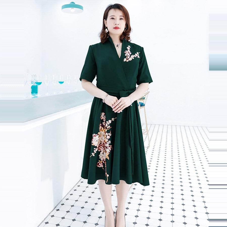 It's Yiiya Prom Dresses V-Neck A-Line Knee-Length Prom Dresses 2020 DX046 Plus Size Embroidery Short Sleeve Vestidos De Gala