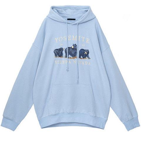 Vintage Bear Embroidery Sweatshirts Hoodies Women Harajuku Streetwear Casual Long Sleeve Crewneck Oversized Fashion Hoodie Woman 8