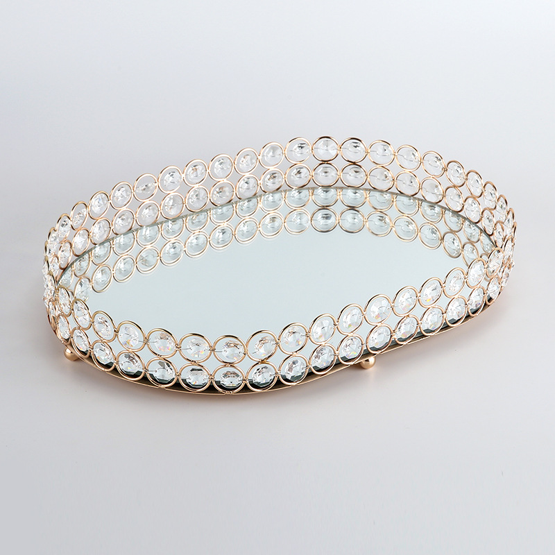 Wedding Dessert Crystal Tray Cosmetic Storage Snacks Plate Candy Holder Home Hotel Party Desktop Decoration