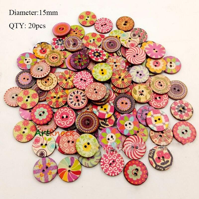 20 шт деревянные пуговицы для рукоделия, аксессуары для скрапбукинга, декорации, botones de madera para manualidades - Цвет: K06