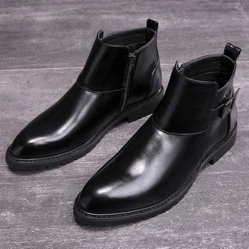 2020 jesień wczesnozimowej buty skórzane Chelsea Boots mężczyźni obuwie czarne trzewiki PU moda marka obuwie męskie A1787 tanie i dobre opinie YUYAN HAPPY HOUR Podstawowe Mikrofibra ANKLE Stałe Dla dorosłych Mesh Szpiczasty nosek RUBBER Wiosna jesień Mieszkanie (≤1cm)