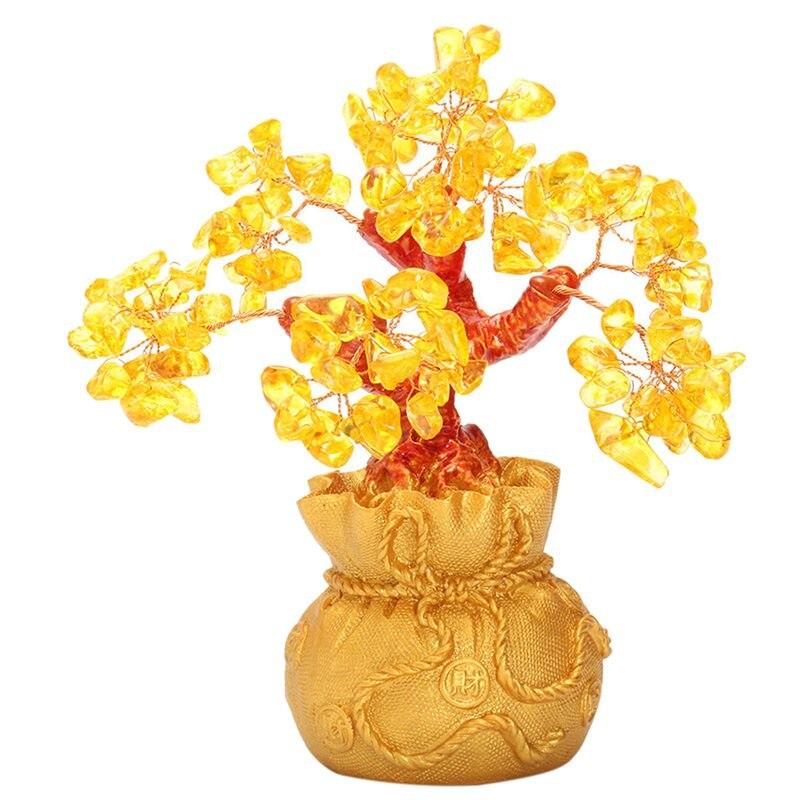 Feng Shui Wealth Lucky Citrine Crystal Gem Money Coins Tree In Money Bag Decor