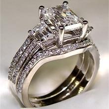 Vintage 10K oro blanco 3ct Lab Diamond Ring sets 925 sterling silver Bijou compromiso boda band anillos para Mujeres Hombres joyería
