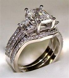 Vintage 10K białe złoto 3ct Lab diamentowy pierścionek zestawy 925 srebro Bijou obrączka zaręczynowa dla kobiet mężczyzn biżuteria