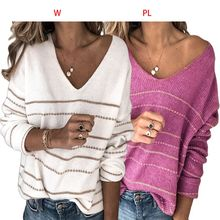 Womens Long Sleeve Pullover Sweater V-Neck Golden Striped Print Knit Jumper Tops marled mixed knit cutout neck jumper