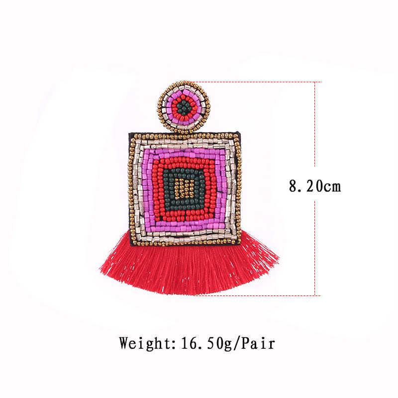 Sehuoran Tassel Earrings Pendant Za Earrings 2019 Handmade Beads Statement Bridal Earring Party Dangle Drop Earrings Jewelry