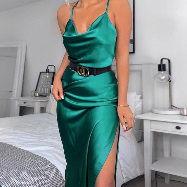 Neon Satin Lace Up Summer Women Bodycon Long Midi Vintage Backless Elegant Party Outfits Sexy Club Clothes Vestido Dress Robe 3