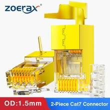 ZoeRax 100PCS 2-Peça CAT6A & CAT7 RJ45 Blindado Modular Plug Conector 50μ - Cat FTP 7 8P8C 45 RJ Cabo Friso Fio Buraco 1.5 milímetros