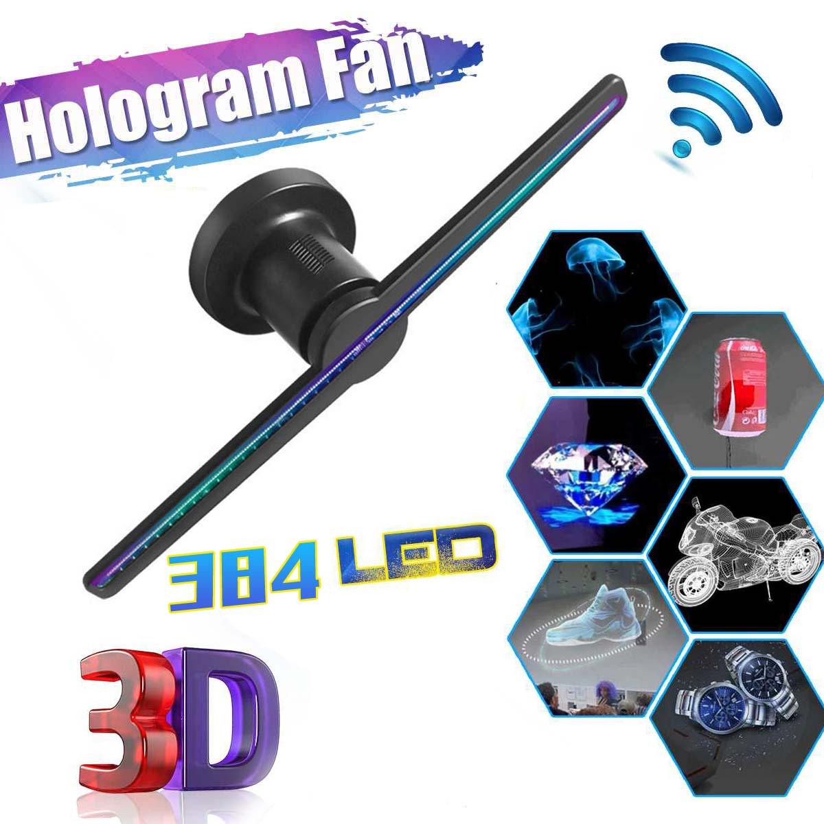 Becornce 3D hologramme publicité affichage ventilateur LED holographique imagerie ventilateur LED lumière 3d affichage publicité lumière décoration