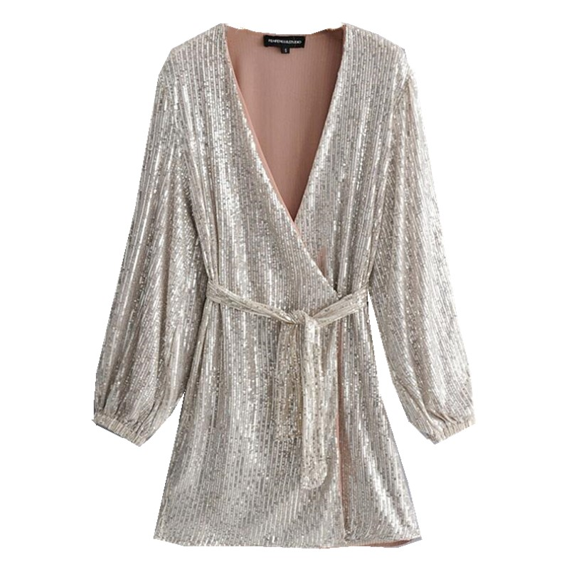 2019 New Silver Sequins Wrap Dress Lacing Up Waist Split Slim Fit Women Long Sleeve Tea Dresses Bow Tide Vestido Party