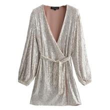 Wrap-Dress Sequins Slim-Fit Long-Sleeve Party Silver Women Vestido Bow Lacing-Up Waist-Split