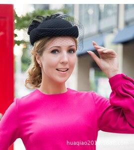 Image 5 - 100% lã fascinator inverno elegante feminino pillbox chapéu preto feltro vermelho senhoras boina casamento chapéus bowknot kentucky derby fedoras