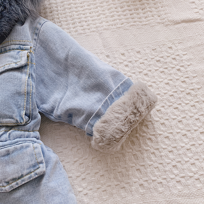 2019 Winter Girls Jackets Fur Hooded Warm Children's Denim Coats Cotton Fleece Jeans Kids Outerwear Thick Baby Snowsuits Clothes