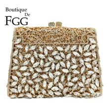 Boutique De FGG Elegant Women Gold Clutch Evening Bags Formal Dinner Bridal Rhinestone Purse Party Dinner Diamond Handbags