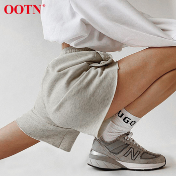 OOTN Casual Lace Up Elastic High Waist Shorts Female Knitting Loose Pocket Summer Women Shorts Solid Gray Bottom Sports Fitness danjeaner 2017 summer casual loose cotton high waist shorts youth solid slim drawstring elastic waist shorts women shorts mujer
