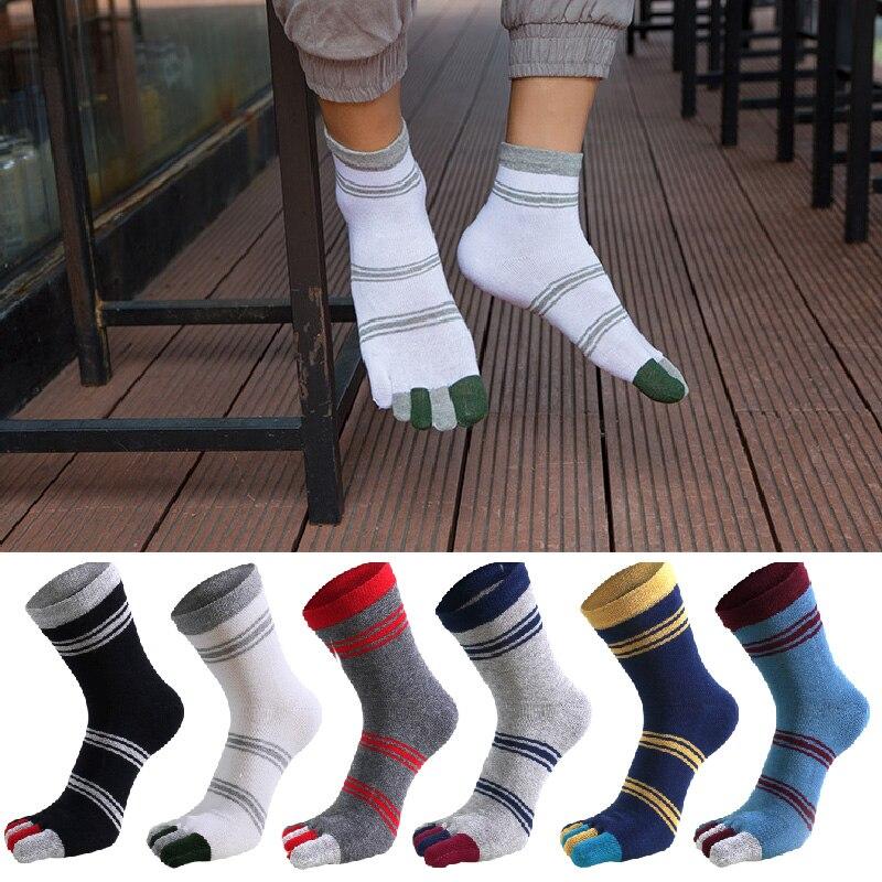 Hot Sale Five-finger Socks Men Cotton Striped Crew Finger Toe Sock Funny Patchwork Deodorant Foot Sock Fashion Comfortable Socks