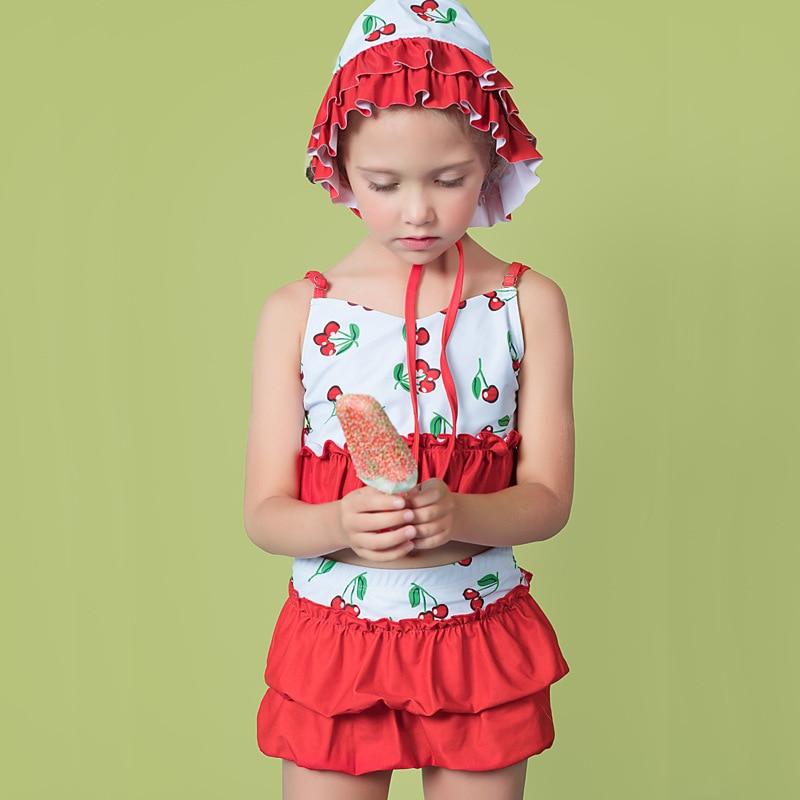 2019 Baby Girls Cute Bubble Hot Spring Split Skirt-Style Bathing Suit With Swim Cap Girls Big Kid Swimwear Olive Flower 2042