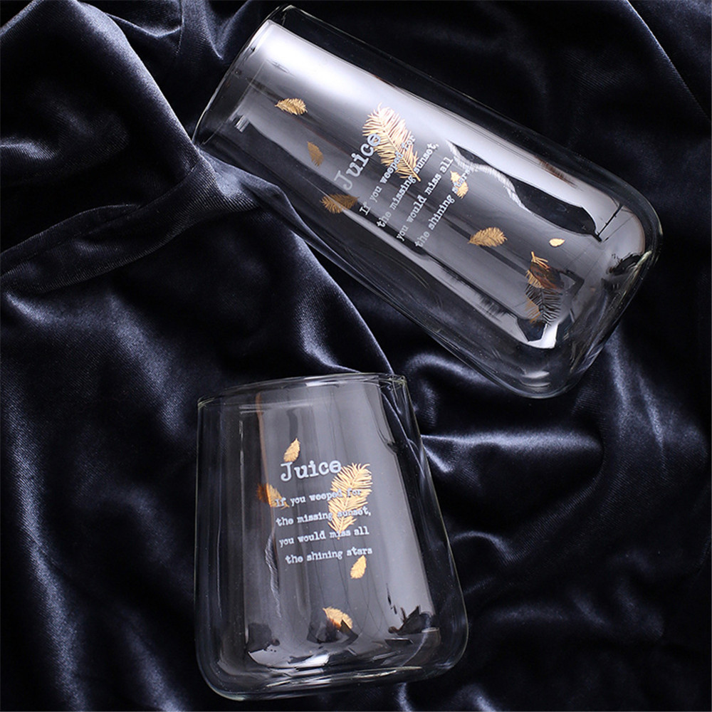 Glass Mug Cocktail glass Golden Black Letter Transparent Tall Mugs Milk Drink Tea Coffee Cup Home Party bar Drinkware Gift 480ml