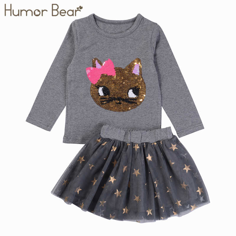 Humor Bear Children Clothing Kids Girls Clothes Sets Baby Girl Little girl print design Long Sleeve + Pant 2pcs Set Sports