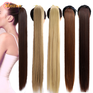 MEIFAN 32inch Super Long Straight Clip in Hair Tail Natural False Hair Pieces Synthetic Ponytail Extension for Women