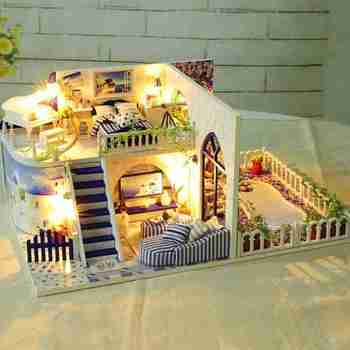 Creative Self-assembly Villa House Model Toy DIY Handmade Dollhouse With Furnitures DIY Wooden House Kit Children Birthday Gifts