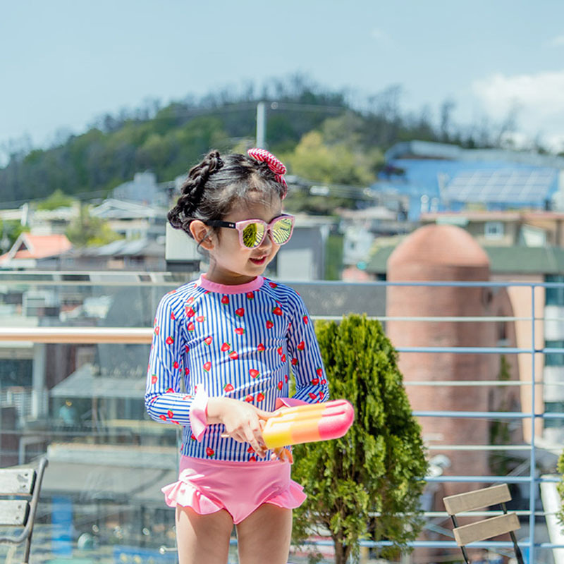 Children Split Type Swimsuit GIRL'S Big Virgin Strawberry Girls Baby Kids Students Long Sleeve Swimwear