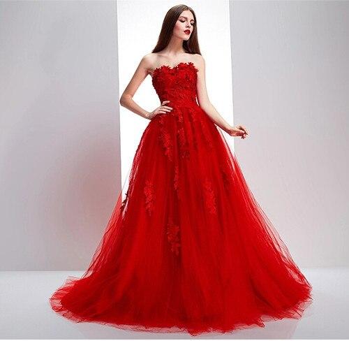 Tulle Sweep Train A-line Red Lace Appliques Bridal Gown Custom Size Color Vestido De Noiva 2018 Mother Of The Bride Dresses