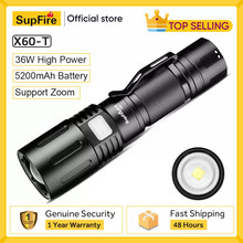 36W SupFire X60-T Super Bright LED Flashlight Waterproof Outdoor Lantern USB Charging For Camping Fishing Support Zoom Torch