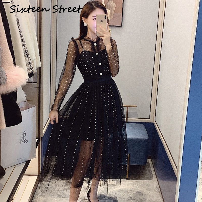 2020 New Spring Black Mesh Woman Dress Diamond Bling Long Sleeve Perspective Sexy Dresses Female Autumn Vestidos
