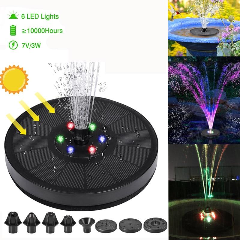 7 в/3 Вт Солнечный водяной фонтан с насосом, красочные светодиодсветодиодный фонари, плавающий садовый фонтанный насос бассейн, декор для пр...