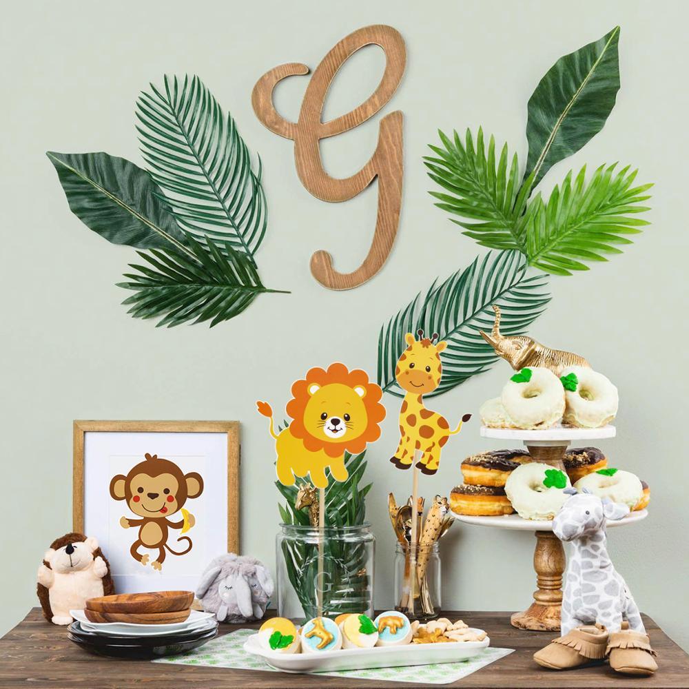 58pc Animal Vase/Cake Topper Safari Jungle Party Child Girl Boy Happy Birthday Party Decor Kids Tropical Dinosaur Party Wild One