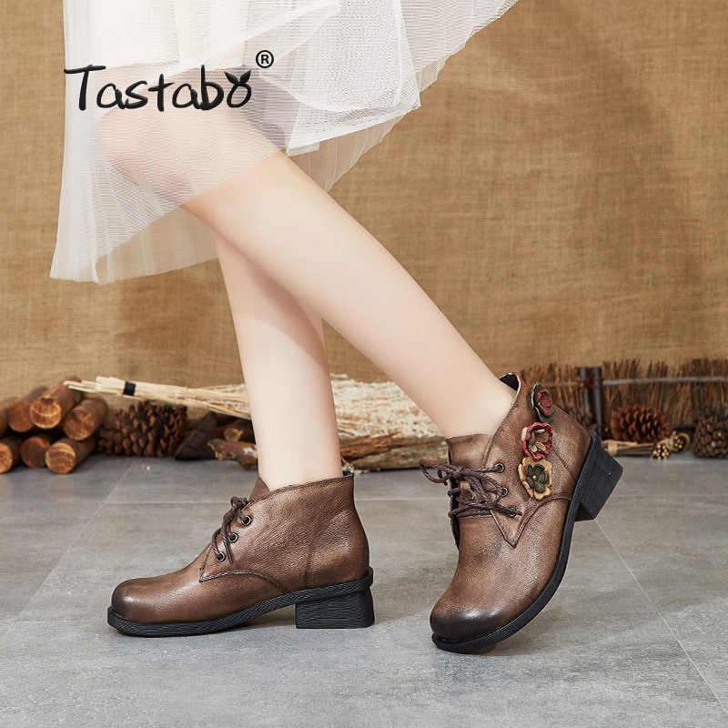 Tastabo Echtem Leder damen Bare stiefel Vintage ethnischen stil frauen stiefel Braun Grau S88202 Nicht-rutsch Bequem Flache boden
