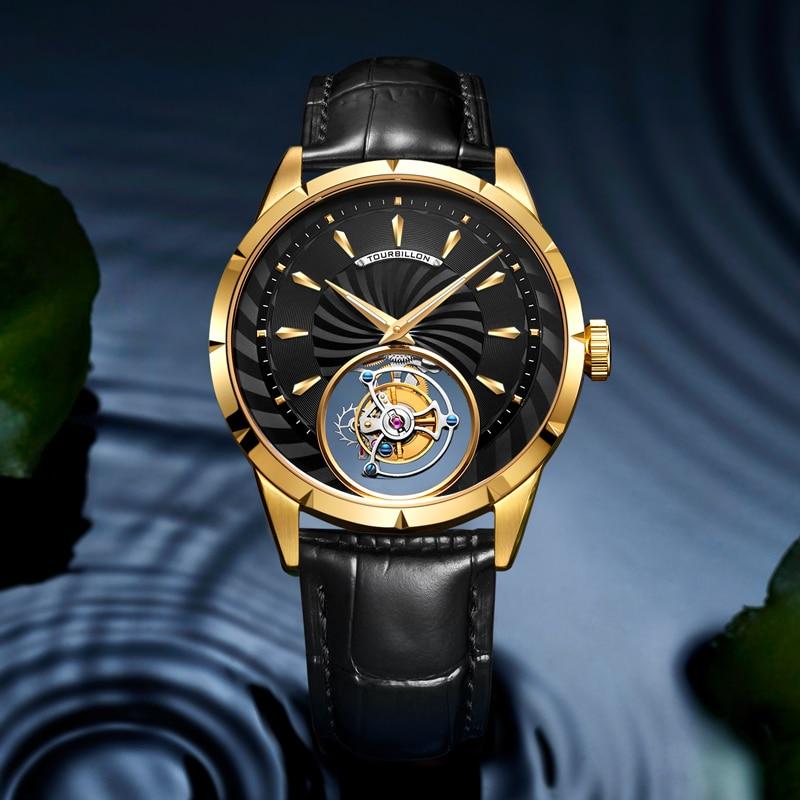GUANQIN Original Tourbillon Watch Men Top Brand Luxury Clock Men Skeleton Sapphire Mechanical Relogio Masculino