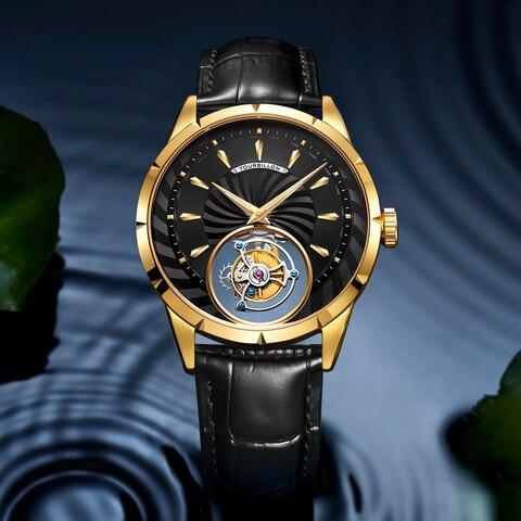 Marca de Luxo Guanqin Original Tourbillon Relógio Masculino Esqueleto Safira Mecânico